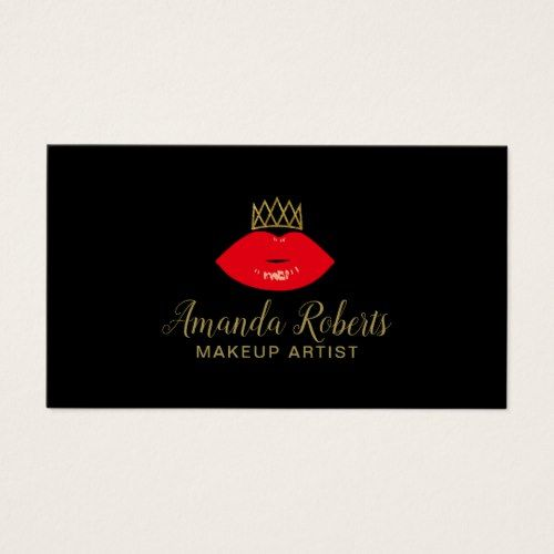 Makeup Artist Red Lips & Gold Crown Fashion Business Card