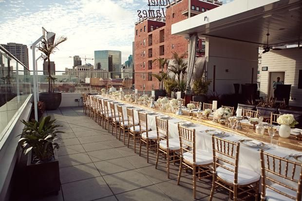 Hostess with the Mostess® - Modern Vintage Rooftop Rehearsal Dinner