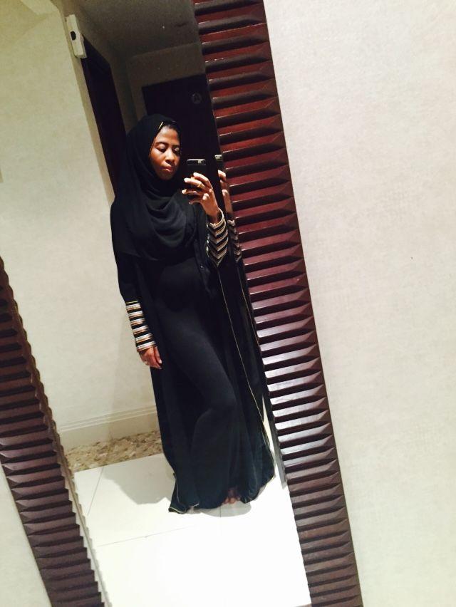 Abaya and a black dress. Hand stitched cuffs