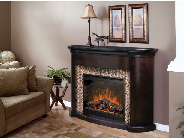 This Elegant Mantel With Espresso Finish Features Lovely Art Deco Tiling  And A Realistic Electric Fireplace That Heats Up To 400 Sq Ft.
