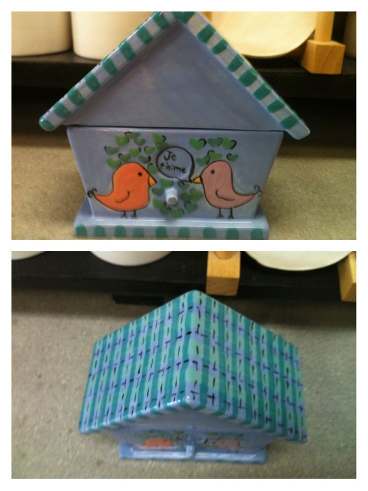 Bird house box made by one of our bisquettes