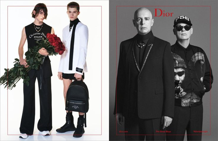 Dior Homme Summer 2018 Ad Campaign with the Pet Shop Boys, Photographer David Sims captured Neil Tennant, Chris Lowe, Charlie Plummer, Andreas Wolf, Henry Rausch, & Anton Jaeger