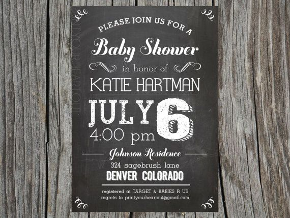 Chalkboard Vintage Baby Shower Invitation by PrintYourHeartOut, $13.50