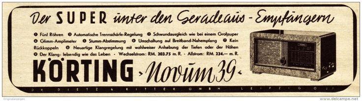 Original-Werbung / Anzeige 1938 - KÖRTING NOVUM 39 RADIO - ca. 190 x 45 mm