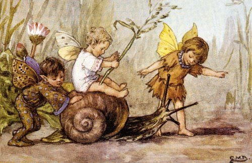 Flower fairies  by Cicely Mary Barker  (The one up front, directing the snail, looks like my grandaughter Zoe.)