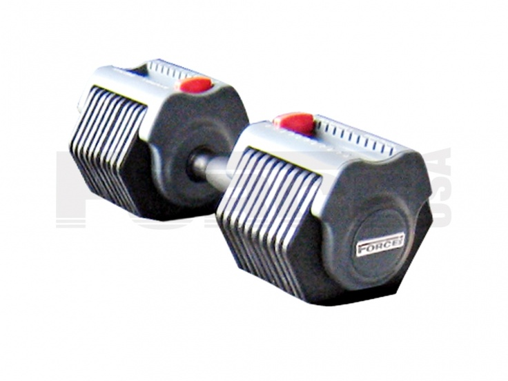 Force USA 55lbs (25kg) Adjustable Dumbbell  The Force USA 55lb (25kg) Adjustable Dumbbell Set is a must have for any home gym or personal training studio.  - Easy to use, quick change weight selector - Practical, strong, reliable, convenient & great value - Adjustable from 2.5kg up to 25kg each dumbbell with a simple quick weight selection.  Note:  Does not come with rack.   For more info visit: http://www.gymandfitness.com.au/force-usa-adjustable-dumbbell-set-55lbs-25kg.html