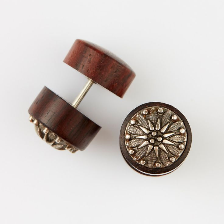 """Fake Gauge Earrings-Fake Plugs-Organic Wood Earrings,Chrome Brass Fake Gauges - Handmade Tribal Earrings-""""Chromed Brass Star Flower""""-Boho by NoHolesBarred on Etsy"""