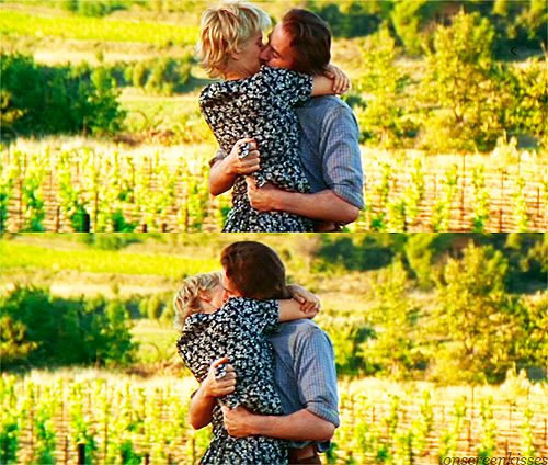"Meg Ryan & Kevin Kline in ""French Kiss"" Uh,  I've loved this movie (and her clothes) over and over ever since I saw this in the theater in '95 ... Her dress is classic!  I love his grip of her in the pretty vineyard :)"