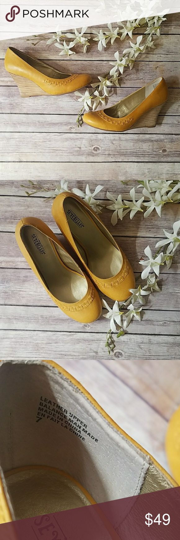 "Mustard Yellow Wedge Heels Seychelles SZ 7 Beautiful mustard yellow wedge heels by Seychelles. Leather upper. Features interlaced leather along front of shoe. Wedge heel measures 3"" high. Seychelles Shoes Wedges"
