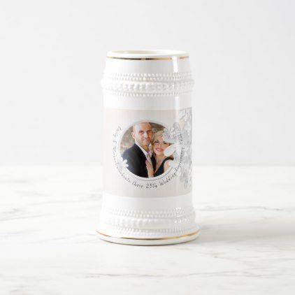 Elegant PHOTO Wedding Anniversary Commemorative Beer Stein - elegant gifts gift ideas custom presents