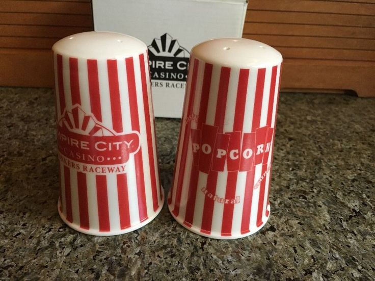 Empire City Casino Yonkers Raceway SALT & PEPPER Shakers - Popcorn Box Style NEW
