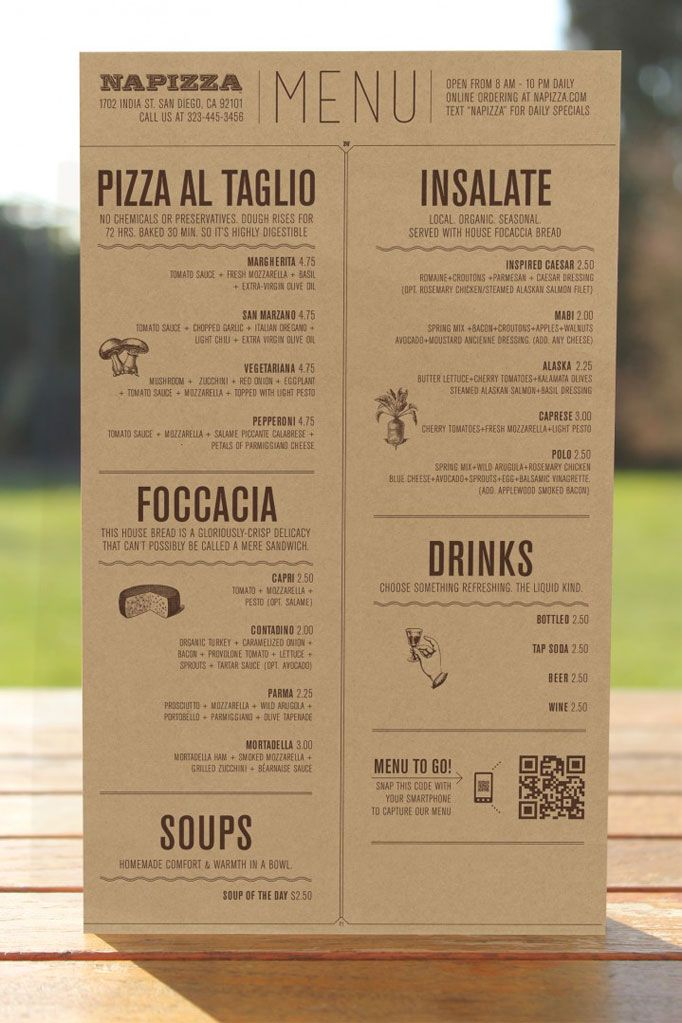 "Pizza al taglio, or pizza ""by the cut,"" is baked in large trays and cut into rectangles, and at Napizza, ingredients are organic and highly digestible. Miller combined these concepts into a rectangular menu featuring carefully chosen icons and illustrations, positioning the restaurant as high quality without compromising health or the environment."