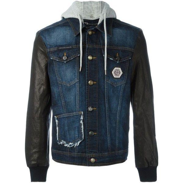 Philipp Plein leather sleeve denim jacket ($1,290) ❤ liked on Polyvore featuring men's fashion, men's clothing, men's outerwear, men's jackets, blue, mens blue jacket, mens hooded denim jacket, mens hooded jackets, mens hooded jean jacket and mens leather sleeve jacket