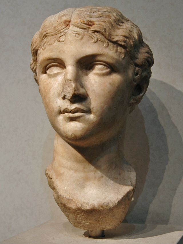 Antonia the Younger, daughter of Mark Anthony and Octavia the Younger, niece of Augustus, mother of Emperor Claudius (or possibly Claudia Livia Julia, her daughter; or possibly Julia Livilla, sister of Caligula), head of Roman sculpture (marble), 1st century AD, (Palazzo Massimo alle Terme, Rome).