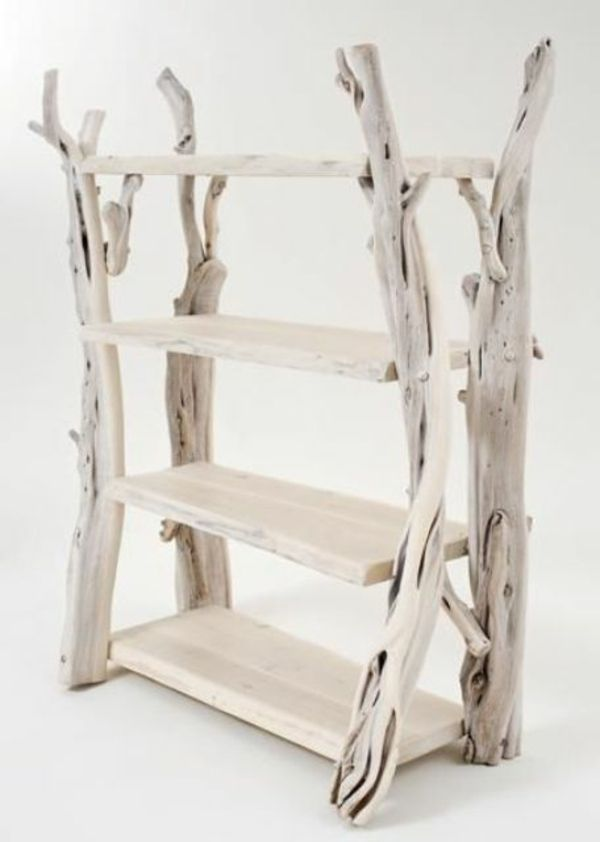 White shelves of driftwood - small and convenient