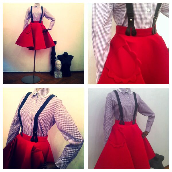 Girlish look with a touch of masculinity!  Preppy shirt double collar, one with white embroidery on cotton and red full neoprene skirt with feminine pocket detail! Available size 36 European!