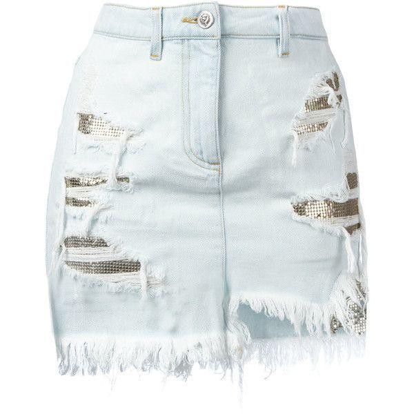 Versus - distressed mesh insert denim skirt - women - Cotton/Polyester... ($455) ❤ liked on Polyvore featuring skirts, mini skirts, blue, zipper skirt, blue denim mini skirt, short skirts, button skirt and denim mini skirt
