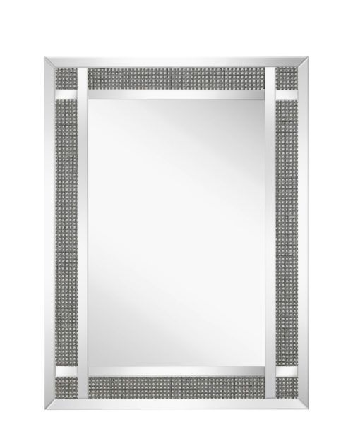 Contemporary mirror with small mirror squares on the frame.
