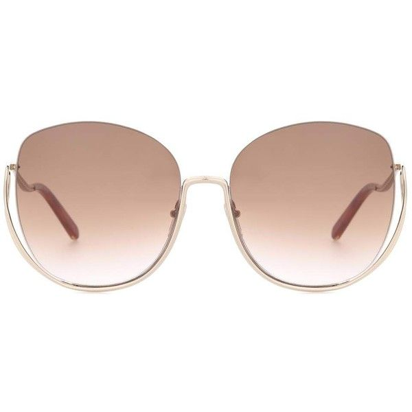 Chloé Aviator Sunglasses ($385) ❤ liked on Polyvore featuring accessories, eyewear, sunglasses, gold, aviator sunglasses, gold aviator sunglasses, aviator style sunglasses, chloe glasses and chloe eyewear