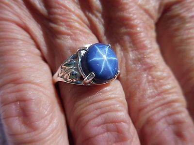 5 CT. Oval 6 Ray Blue Star Sapphire in a Sterling Silver Leaf Setting size 7