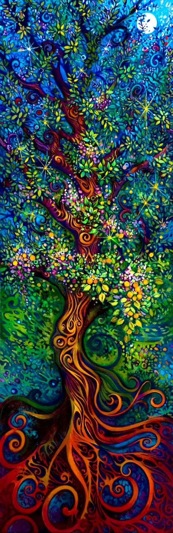 The Tree of Life by artist Laura Zollar: Tattoo Ideas, Trees Art, The Artists, Treeart, Color, Trees Of Life, Laura Zollar, Trees Paintings, Tree Of Life
