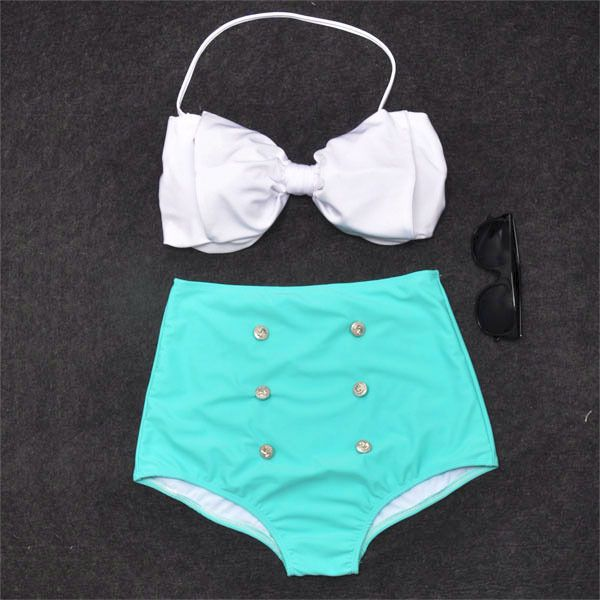 Vintage Retro Pin Up High Waisted Bikini Bow Swimsuit.  WANT.