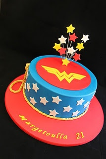 Wonder Women Cake - Maybe add a second layer in red, with emblem on top.  Vanilla layer and chocolate layer.