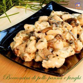 Bocconcini di pollo panna e funghi, buonissimo secondo piatto ricco di gusto e cremosità! non perdetelo..è rapidissimo!