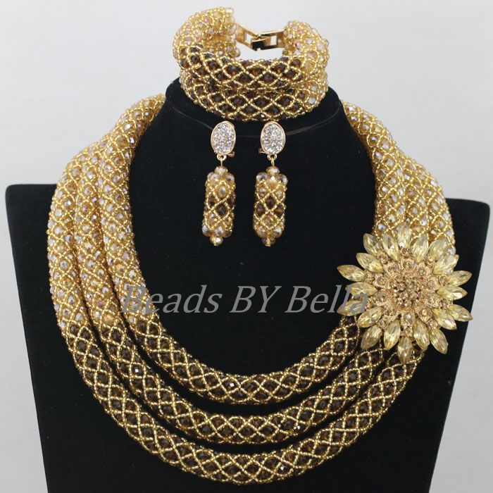 Handmade Gold Brown Crystal Bridal Jewelry Sets 2016 African Wedding Beads Nigerian Party Women Jewelry Set