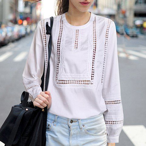 Chic Round Collar Long Sleeve Pure Color Cut Out Blouse For Women