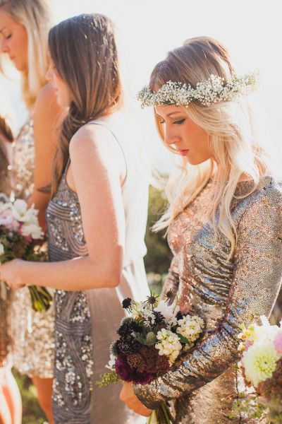 Silver sequin bridesmaid dresses: http://www.stylemepretty.com/2014/05/19/bohemian-glamour-in-northern-california/ | Photography: Mr. Haack -http://www.mrhaack.com/