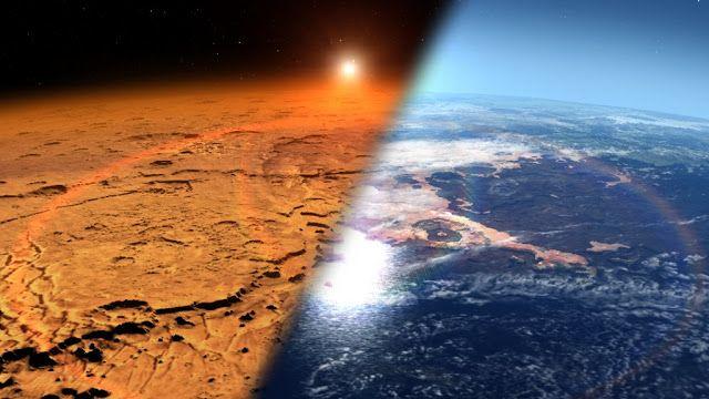 Ilustrasi perbandingan Mars masa kini (kiri) dan Mars di masa lalu (kanan). Kredit: NASA/JPL-Caltech    Spacenesia - Mars Pernah Mirip D...