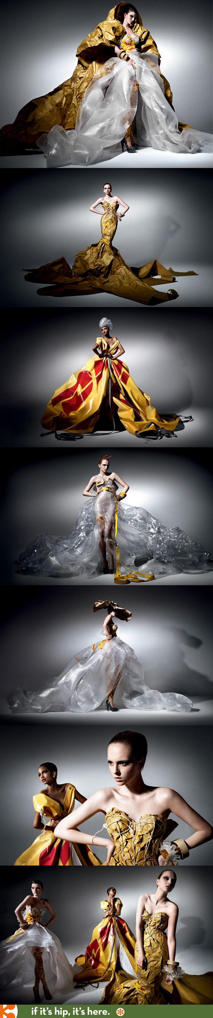 Amazing couture fashions made from DHL shipping and packaging supplies.