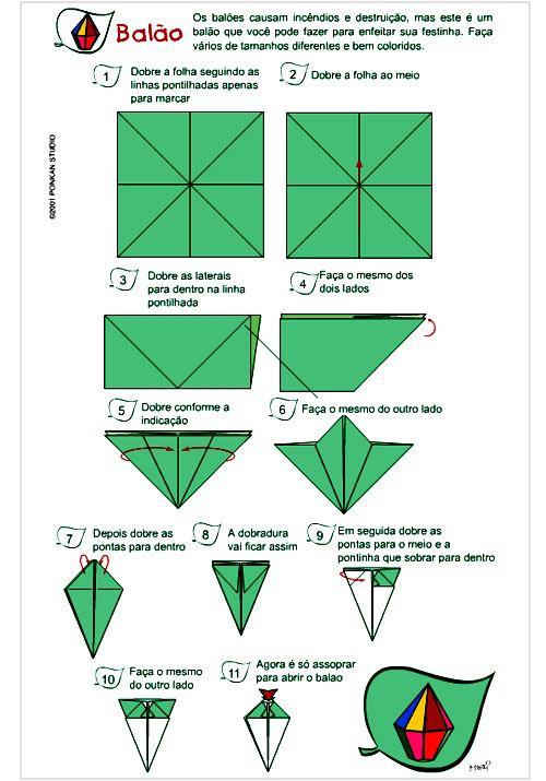 Como fazer origami de balão para festa junina passo a passo - ARTESANATO PASSO A PASSO!