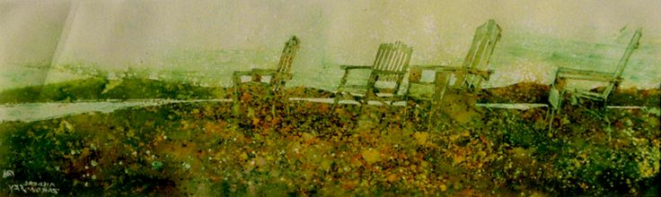 """the horizon 20 (fundy side) 10"""" x 30""""    micheal   zarowsky    watercolour on arches paper / private collection"""