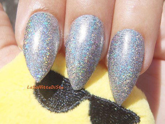 holographic fake nails chromo mirrow powder stiletto drag