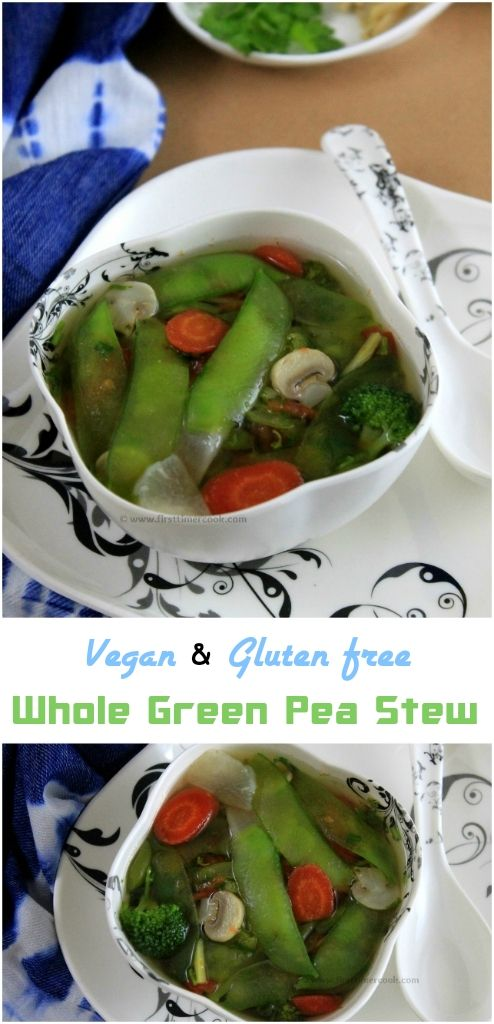 In this recipe, I have used some whole garden pea pods. But if the sugar snap pea pods or tender garden pea pods are available then go for that to use as a whole which has a sweet flavor. Since I have used the whole garden pea pods which are not tender so to use in stew made some modification. First separate the garden pea pod into two halves lengthwise. Hold half part of the pod lengthwise in such a way that the inner side of the pod'll be facing you. Gently break a little portion from t...