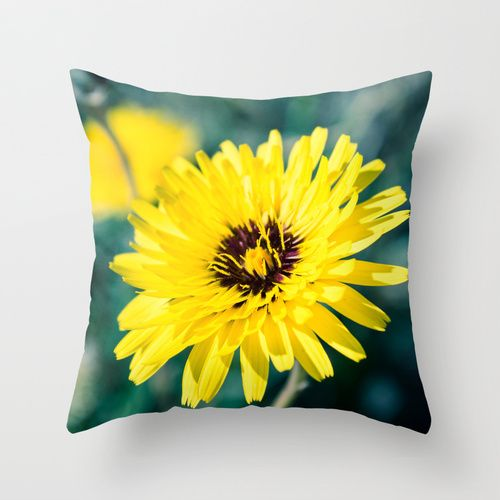 Yellow Friday Throw Pillow by Ia Loredana | Society6   #Pillow #AreaPillow #ThrowPillow #artprint #print #natureprint #floralprint #colorprint #photographyprint #outdoordecor #indoordecor
