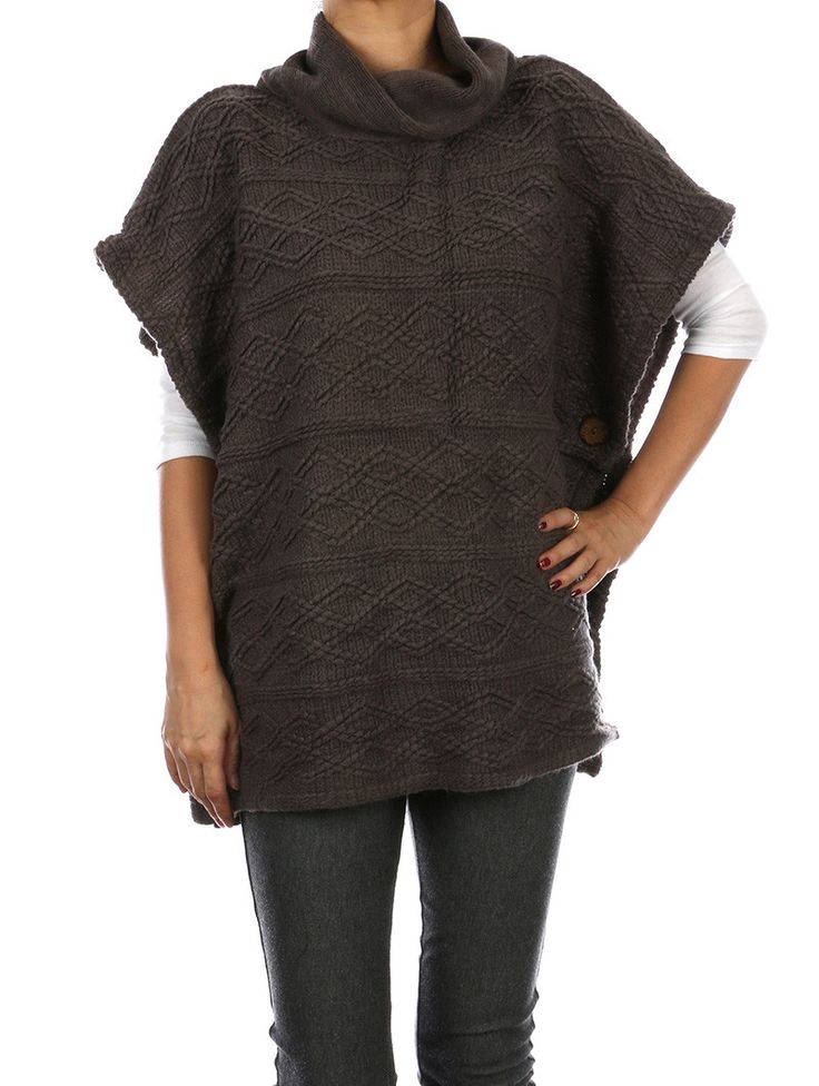 Knitting Pattern Side Button Poncho : Turtleneck Knit Poncho Side Buttons 27 Inch Long 100% ...