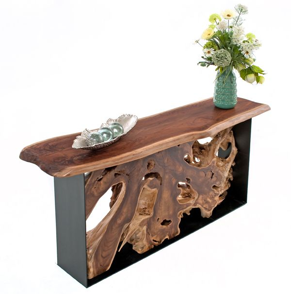 An organic modern console table by Woodland Creek. Available custom size to fit your home.