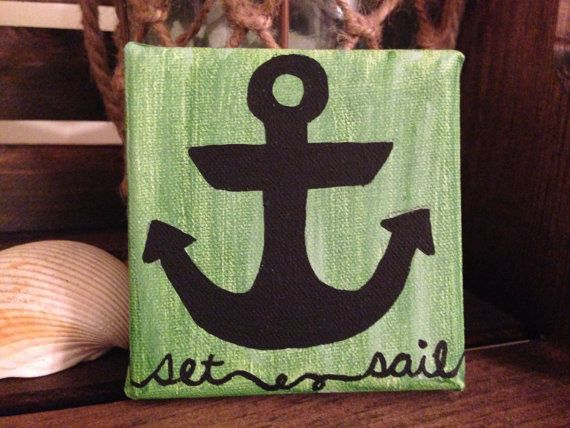 Tiny Anchor Painting with Quote.  Acrylic on Canvas.  4x4.