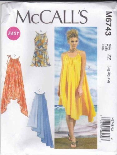 McCalls Sewing Pattern 6743 Misses Sizes 16-26 Easy Pullover Sleeveless Summer Dresses  $14.99