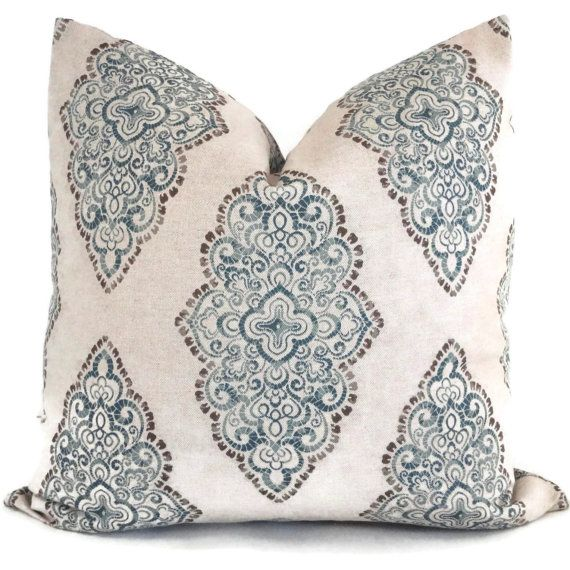 Indigo Blue Medallion Decorative Pillow Cover, 18x18, 20x20, 22x22 or lumbar pillow Throw Pillow ...