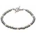 Silver & Silver Pearl Discs Sweetie Bracelet: UK Silver Jewellery, Beautiful Silver Jewellery