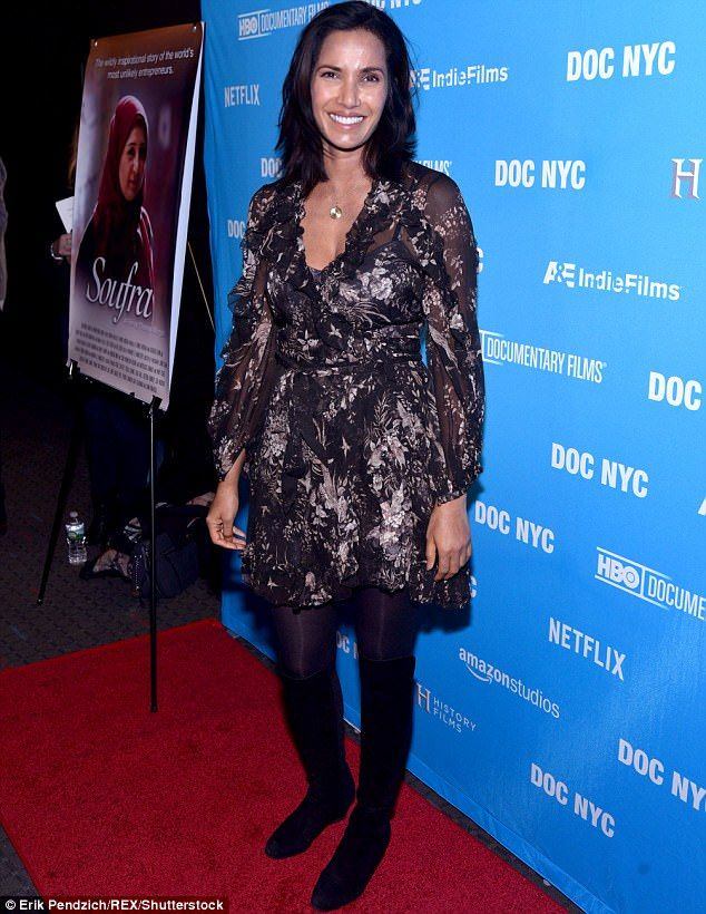 Feast for the eyes: Top Chef starPadna Lakshmi stunned at the premiere of documentary Soufra in New York on Sunday