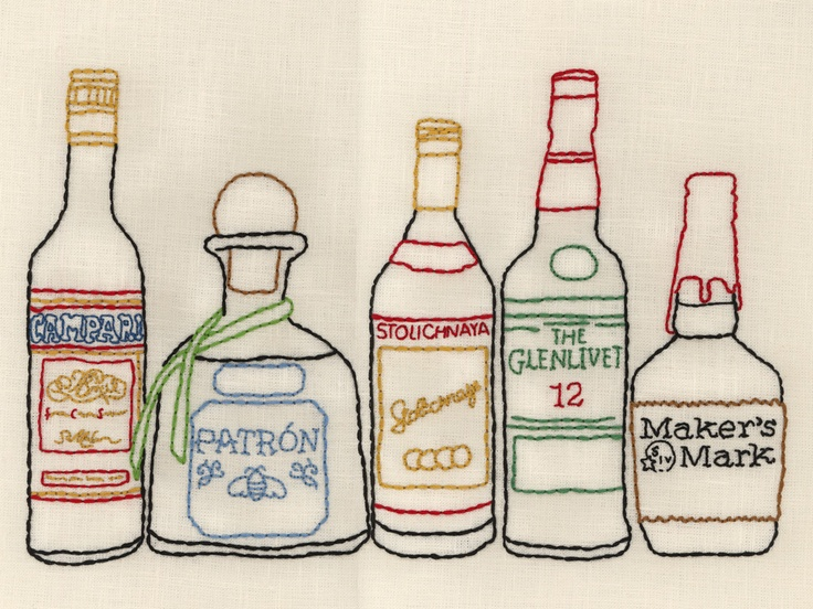 Cool embroidered art print from Stampa -- maybe for over a bar? #bar #drinks #liquor