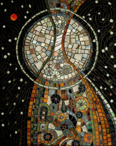 Nightmusic Glass, semi precious stones, beads and ceramic pieces make up this abstract art mosaic.