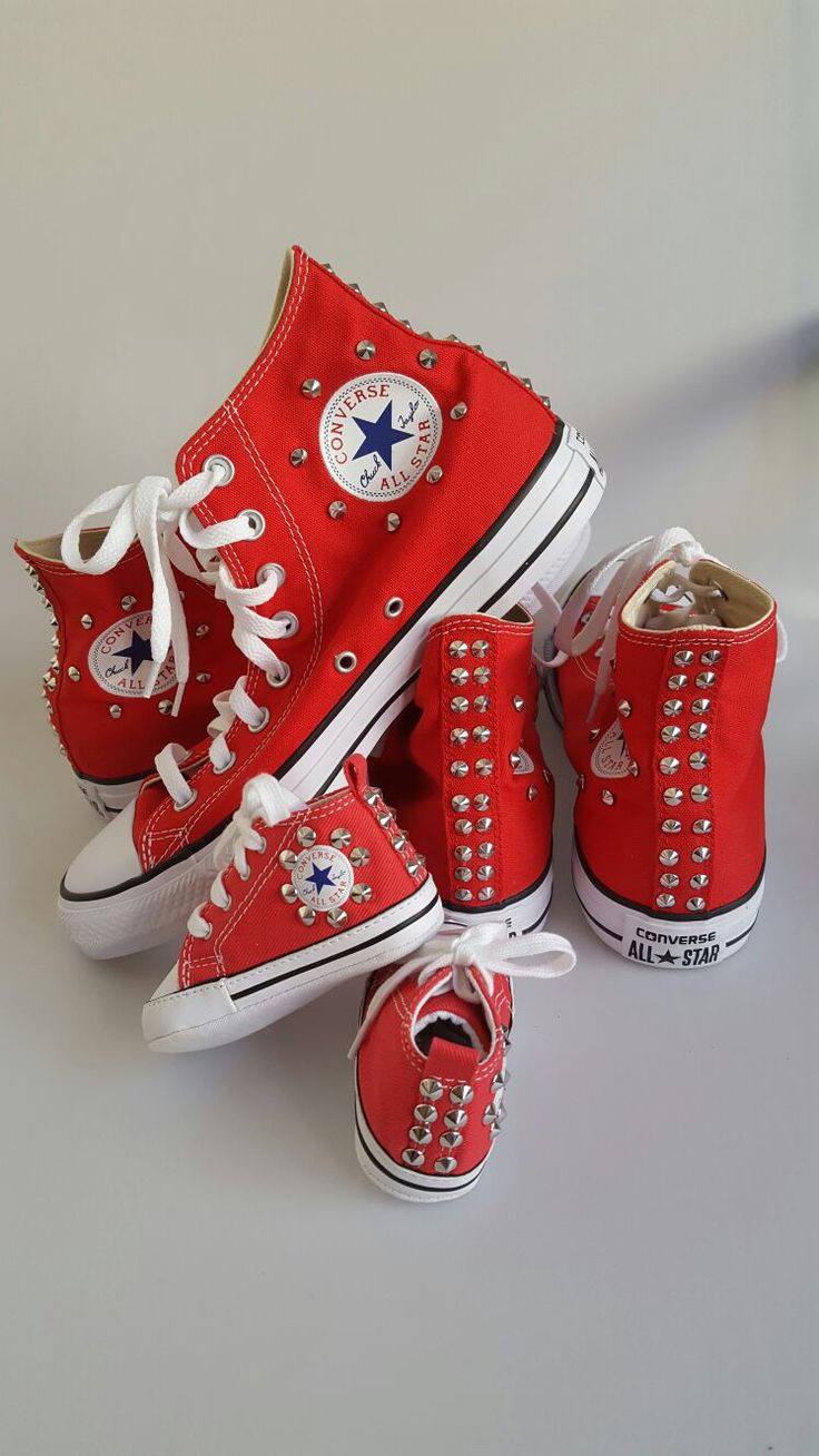 All Star converse: handmade customization for all the family using silver studs.  Glamourize@ectarget.com