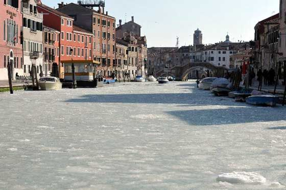 The extreme winter conditions in 2012 caused the rare freezing of Venice canals.  From: http://www.miskeptics.org/2012/02/melting-arctic-ice-linked-to-bad-winter-weather-in-europe-northern-hemisphere/