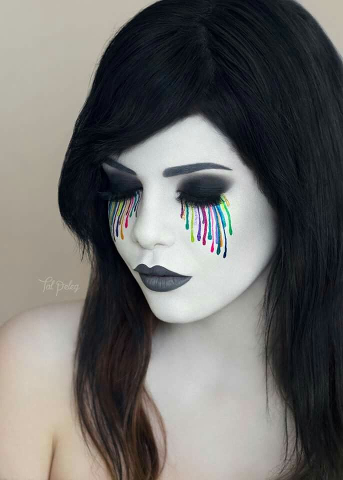 epic rainbow / colorful / color splash dripping makeup... wicked cool looking! ❤